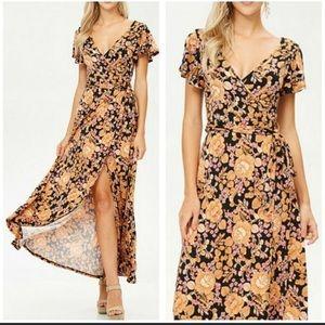 NWT Silky Wrap Maxi Dress